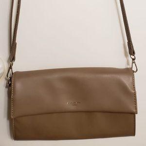 David Jones Nude Leather Crossbody Bag